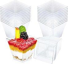Dessert Cups Clear Square Plastic Mini Cube 2oz