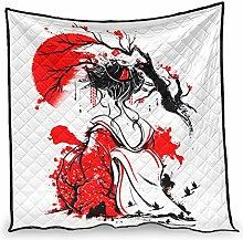 Dessionop Japanese Geisha Red Sun Ink Print Quilt