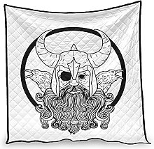 Dessionop Viking Odin Helmet Two Raven Print Day