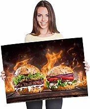 Destination Vinyl Posters A1 - Flaming Burger Food