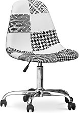 Deswick Office Chair White And Black - Patchwork