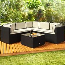 Deuba Poly Rattan Garden Furniture Corner Sofa Set