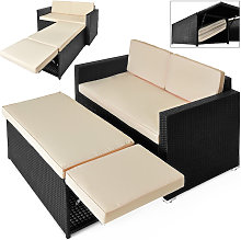 Deuba Poly Rattan Sofa Sun Lounger Day Bed Outdoor