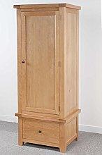 Devon Solid Oak Single Wardrobe with 1 Drawer/Part