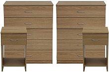 devoted2home Bedroom Furniture 4 Piece Set Oak