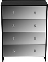 devoted2home Chest of Drawers Black with Mirror