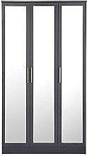 devoted2home Wardrobe Black 3 Door Mirror with