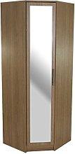 devoted2home Wardrobe Oak 1 Door Corner Mirror