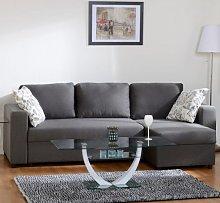 Dexter Corner Sofa Bed In Dark Grey Fabric With