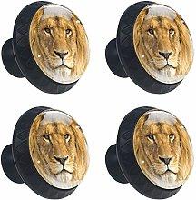 DEYYA Animal Lion Glass Cabinet Knobs 4 Pcs 30mm