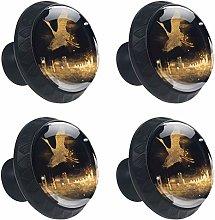 DEYYA Black Gold City Glass Cabinet Knobs 4 Pcs