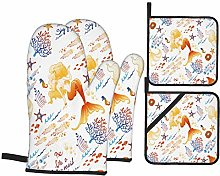 Dfform Heat Resistant Oven Mitts and Pot Holders 4