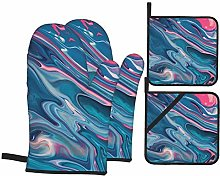 Dfform Oven Mitts and Pot holders 4pcs Set,Blue