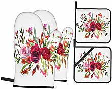 Dfform Oven Mitts and Pot holders 4pcs Set,Floral