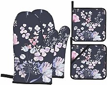 Dfform Oven Mitts and Pot holders 4pcs Set,Flowers