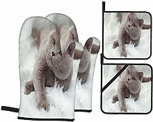 Dfform Oven Mitts and Pot holders 4pcs Set,Gray