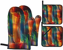 Dfform Oven Mitts and Pot holders 4pcs Set,Palette