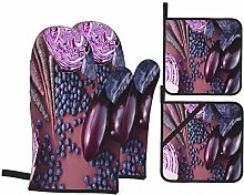 Dfform Oven Mitts and Pot holders 4pcs Set,Purple