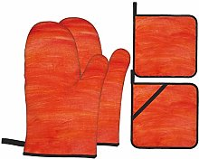 Dfform Oven Mitts and Pot holders 4pcs Set,Red