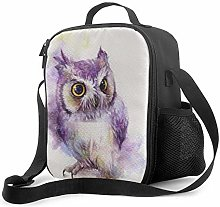 DFGA Painting Purple Owl Pattern Lunch Bag