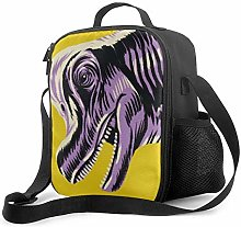 DFGA Purple Dinosaur Head Pattern Lunch Bag