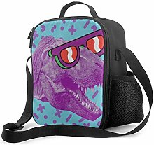 DFGA Purple Dinosaur Skull Pattern Lunch Bag