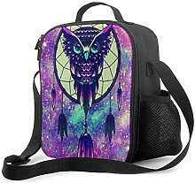 DFGA Purple Dream Owl Pattern Lunch Bag Insulated