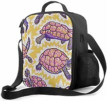 DFGA Watercolor Purple Turtles Pattern Lunch Bag