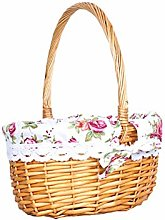 DFSURS Wicker Storage Basket - Willow Woven Empty