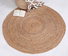 DHAKA Large Braided Round Rug Hand Woven with