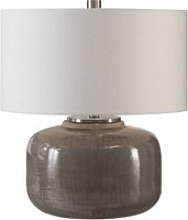 Dhara Table Lamp In Warm Gray Glaze And Brushed