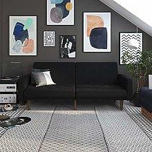 DHP Clic Clac Sofa Bed, Linen, Black, (H) 82 x (W)