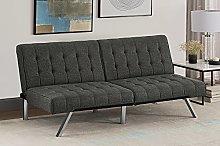 DHP Emily Convertible Sofa Bed, Grey Linen, (H) 82