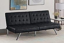 DHP Sofa Bed, leather, Black, (H) 82 x (W) 180 x