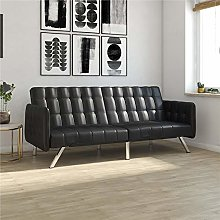 DHP Sofa Bed, Metal, Black Faux Leather, (H) 84 x