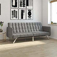 DHP Sofa Bed, Metal, Grey Linen, (H) 84 x (W) 195