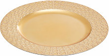 Dia Gold Charger Plate with Octagon Pattern Rim/