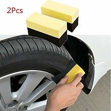 Diadia 2pcs Car Tire Waxing Polishing Sponge Brush