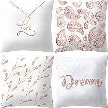 Diadia 4PC Rose Gold Pink Printing Pillow Case