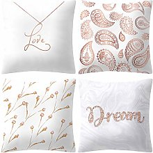 Diadia 4PC Rose Gold Pink Printing Pillow Case