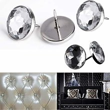 Diamante Crystal Glass Button Nail Back Upholstery