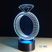 Diamond Ring 3D Night Light 7 Colors Remote Table