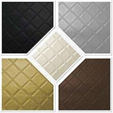 Diamond Square Stitch Black Faux Leather
