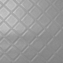 Diamond Square Stitch Silver Faux Leather