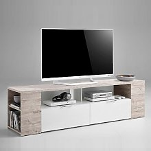 Diana TV Stand In Sand Oak And White With 2 Drawers