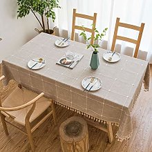 DIAOD Brown Linen Tablecloth with Embroidery