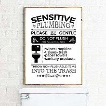 DIARQT Decorative paintings Flush Toilet Sign