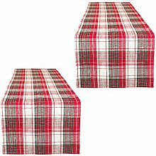 Dibor 2 Table Runners 100% Cotton Red & White