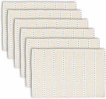 Dibor Placemats Set of 6 - Striped Woven Cotton