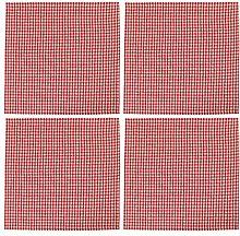 Dibor Set of 4 Red Gingham Napkins 100% Cotton
